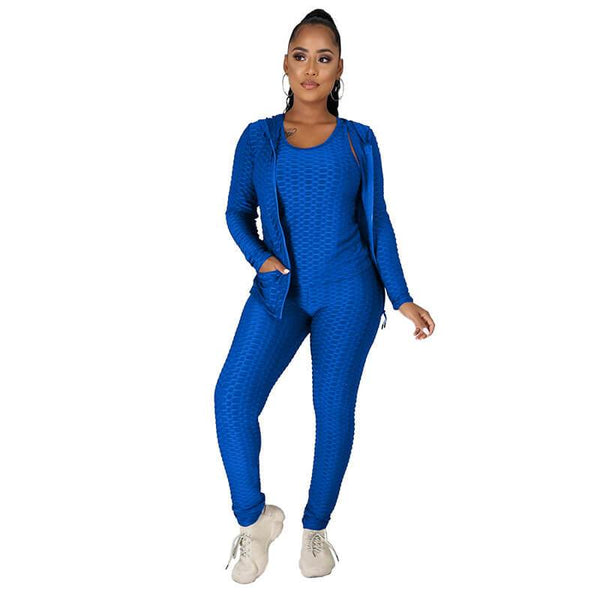 Twelve Colors Jogger Set Plus Size -  blue color