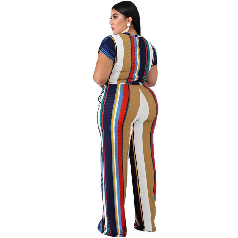 Plus Size Sets Womens Printed Stripes - blue back