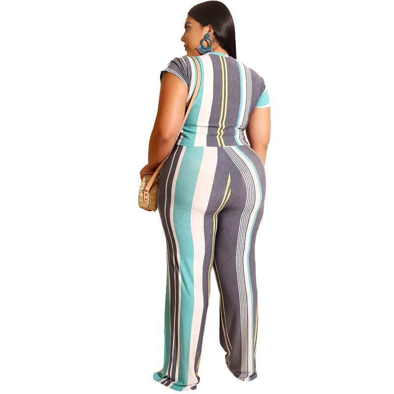 Plus Size Sets Womens Printed Stripes - sky back