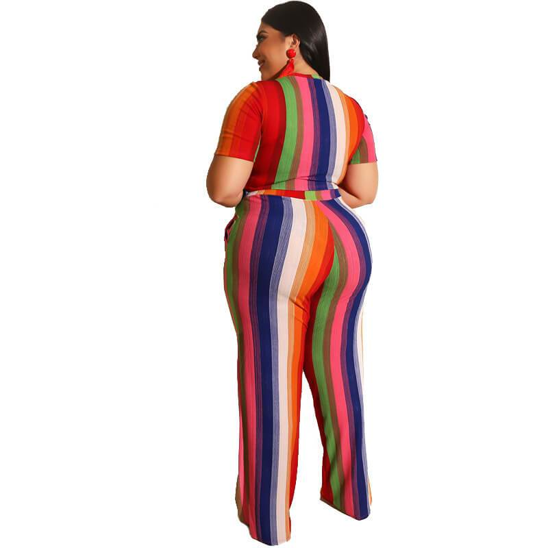 Plus Size Sets Womens Printed Stripes - red back