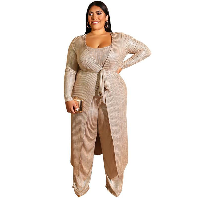 Plus Size 3 Sets of Bronzing Vest with Sets