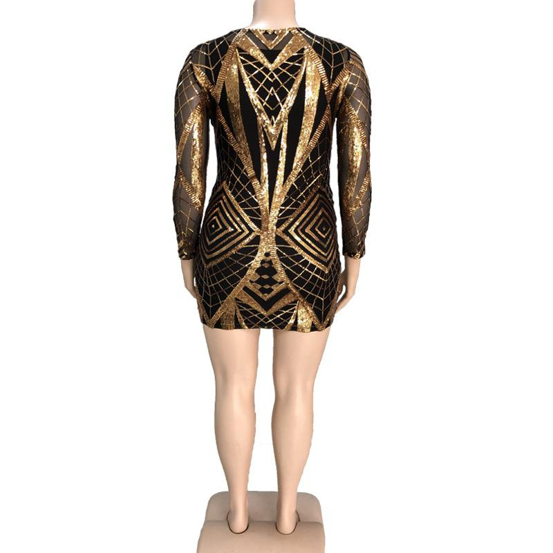 Gold Sequined Print Long Sleeve  Pencil Evening Dress