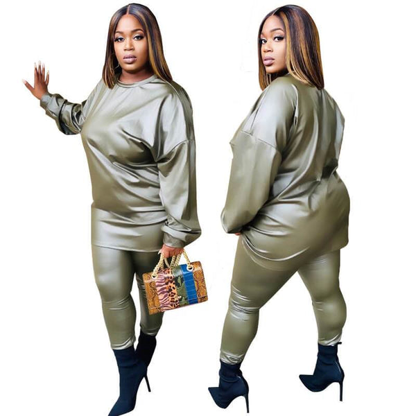 Plus Size A Leather Suit - green positive