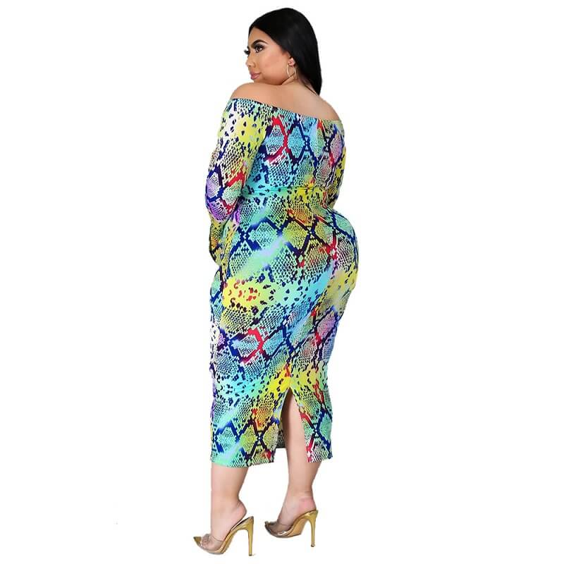 Plus Size  A One-word Shoulder Dress.