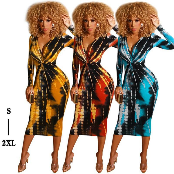Autumn And Winter Tie-dye Printed V-neck Tight Dress