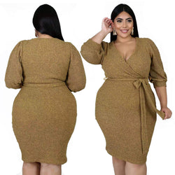Plus Size Dresses With Sleeves - khaki main picture