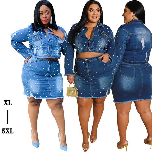 Plus Size Autumn/Winter Casual Plus Size Denim Suit