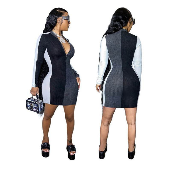 Cute Plus Size Dresses - black gray color