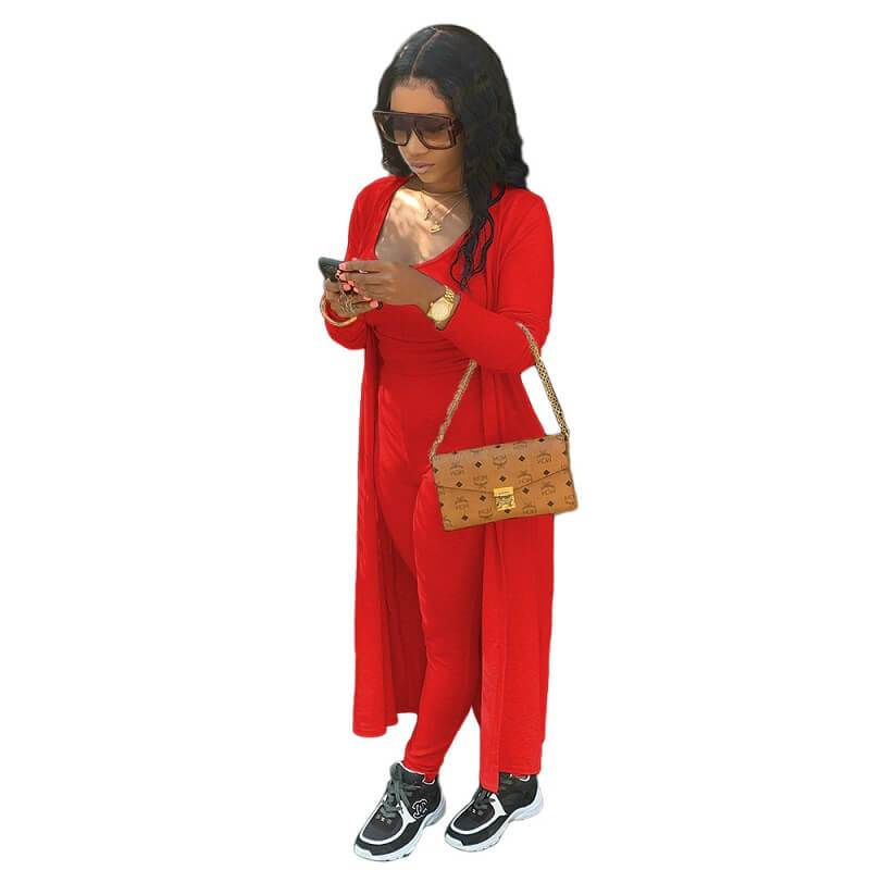 Plus Size Autumn and Winter Two-piece - red color