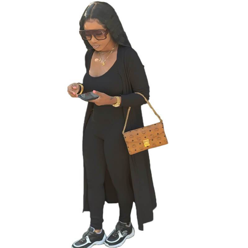 Plus Size Autumn and Winter Two-piece - black color