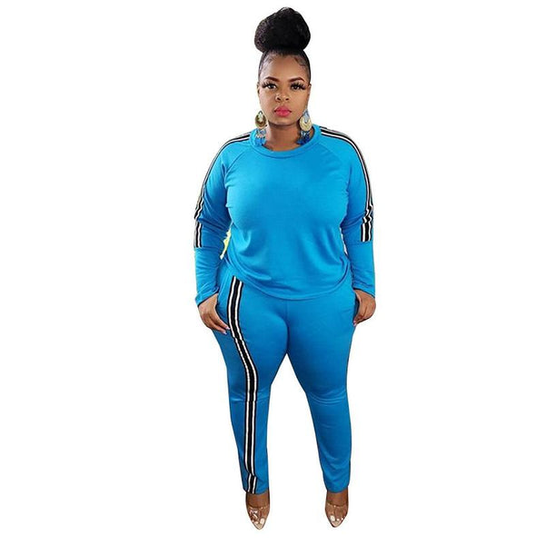 Plus Size 2 Piece Jogger Set - blue color
