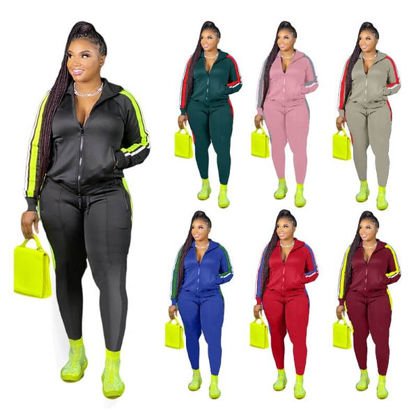 Plus Size Autumn Winter Two-piece Fashion Casual Suit
