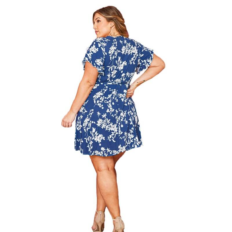 Plus Size  Autumn Fashion Tie V Collar Dress