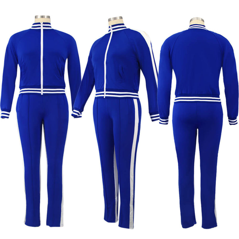 plus size two piece sweatsuit - blue color  model picture