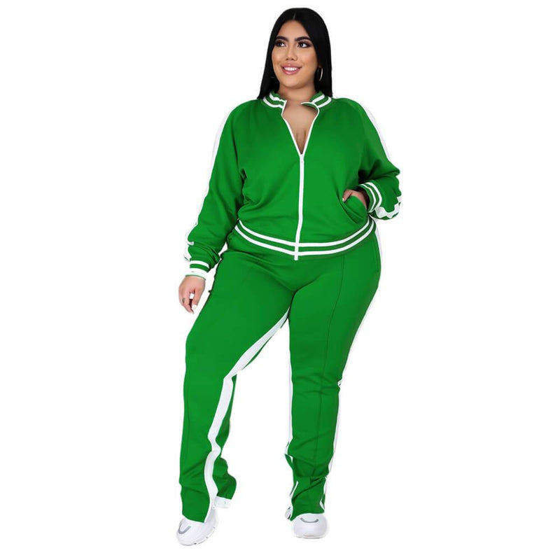 plus size two piece sweatsuit - deep green color