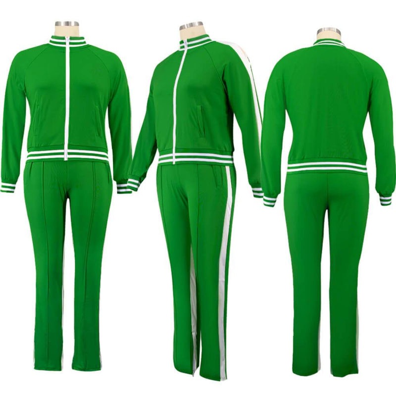 Plus Size Two Piece Sweatsuit - deep green color model picture