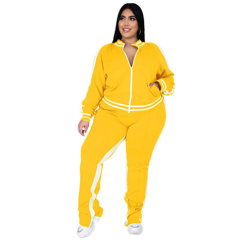 Plus Size Two Piece Sweatsuit - yellow color