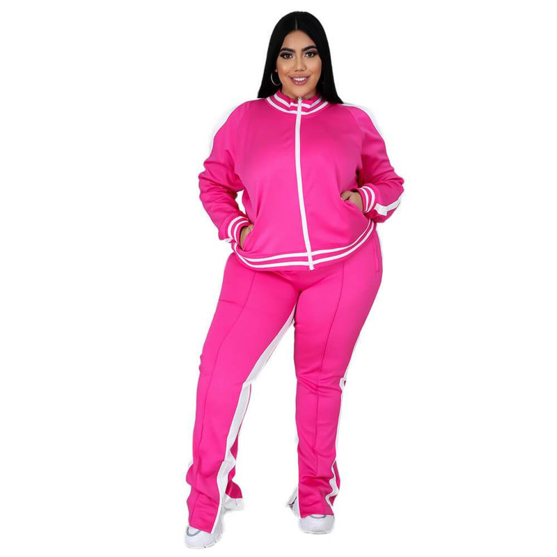 plus size two piece sweatsuit - rose red  color