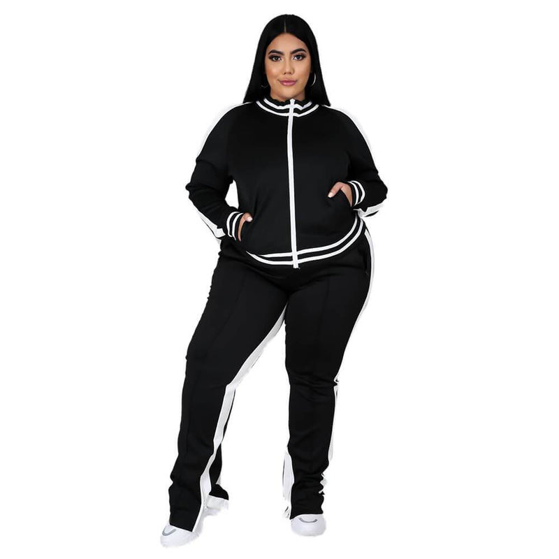 Plus Size Two Piece Sweatsuit - black color