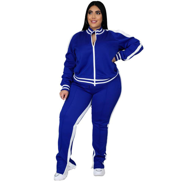 Plus Size Autumn Winter Long Sleeve Solid Color Sports Suit
