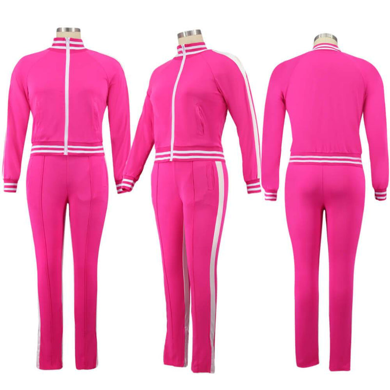 Plus Size Two Piece Sweatsuit - rose red color model picture