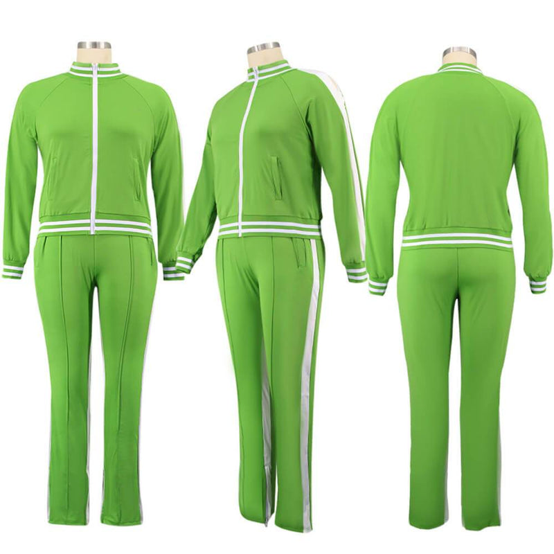 Plus Size Two Piece Sweatsuit - light green color model picture