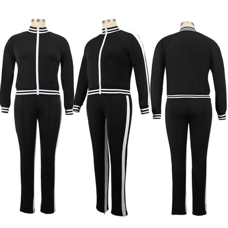 Plus Size Two Piece Sweatsuit - black color model picture