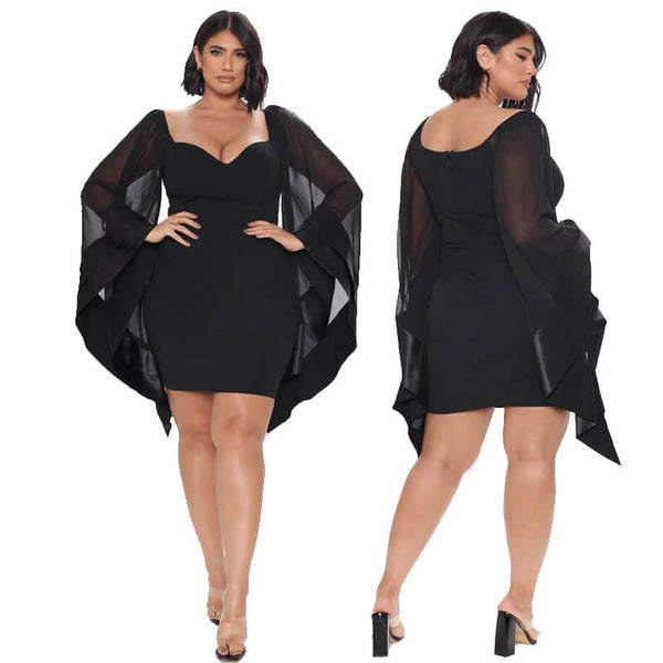 Plus Size Mesh Dress - black color