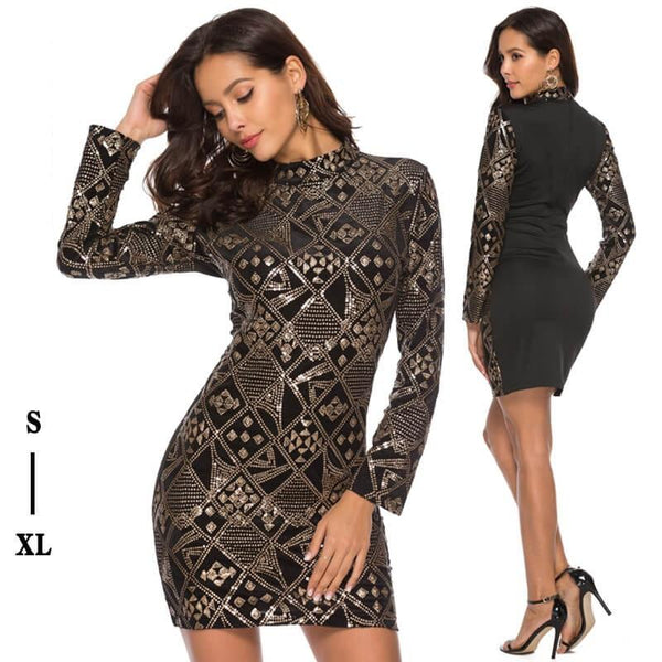 Beaded Sexy Long Sleeve Dress