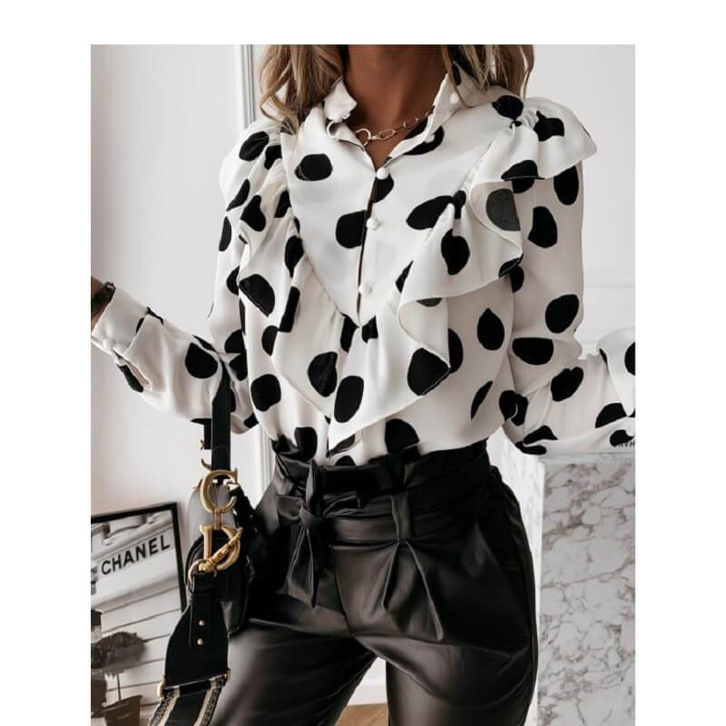 Black Ruffle Blouse Plus Size - white dots color
