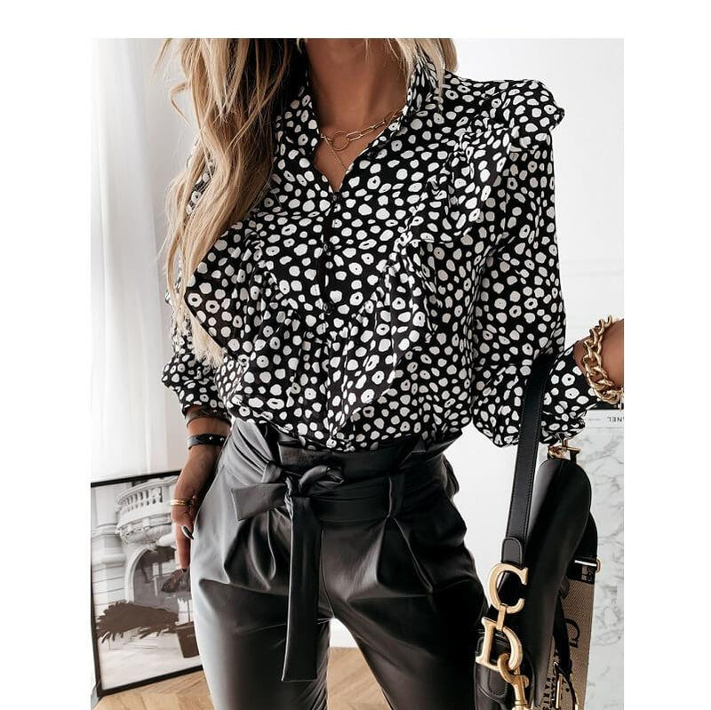 Black Ruffle Blouse Plus Size - black  dots color