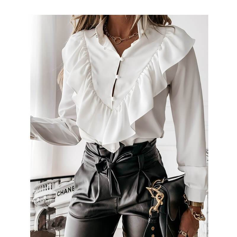 Black Ruffle Blouse Plus Size - white color