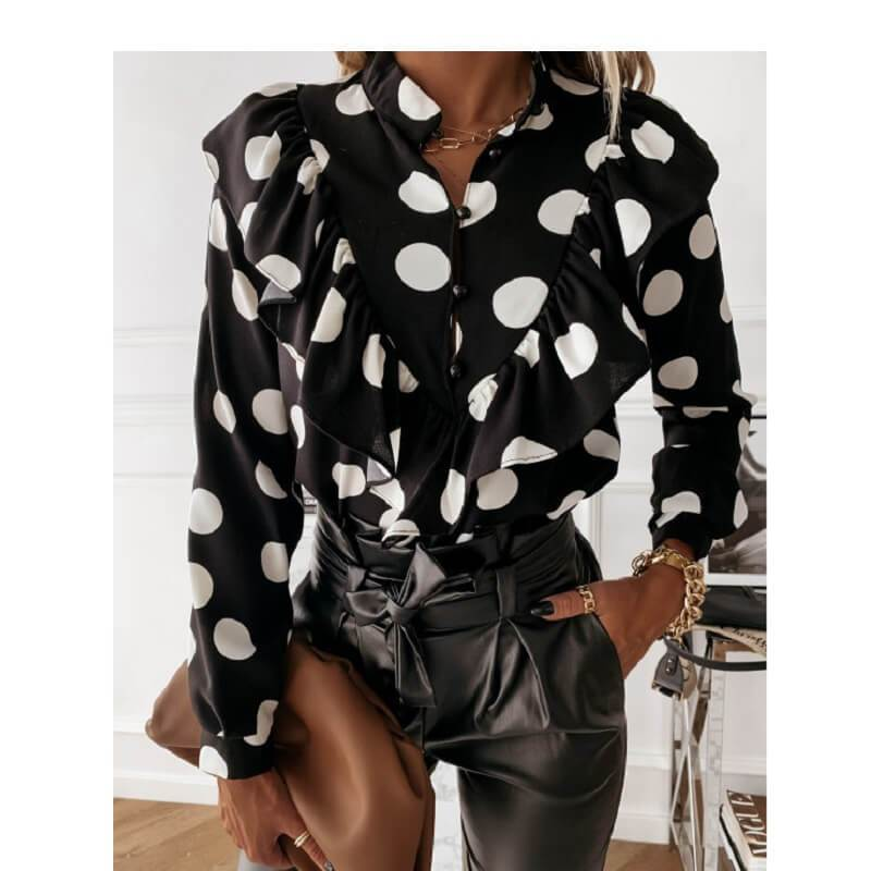 Black Ruffle Blouse Plus Size - black big dots color
