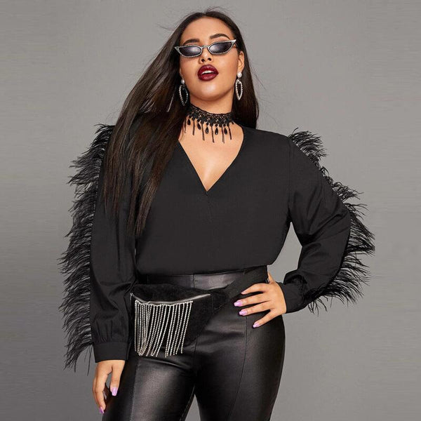 Black Satin Blouse Plus Size - black positive
