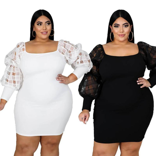 Plus Size White Lace Dress - two colors