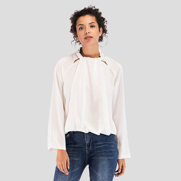 plus size white collared blouse -white positive
