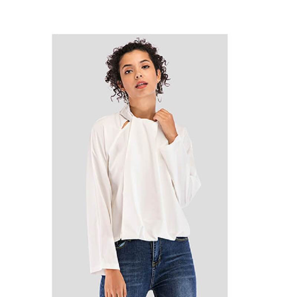 plus size white collared blouse -white main picture