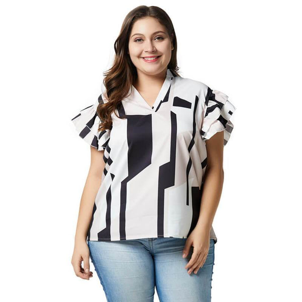 Black and White Blouse Plus Size - white picture