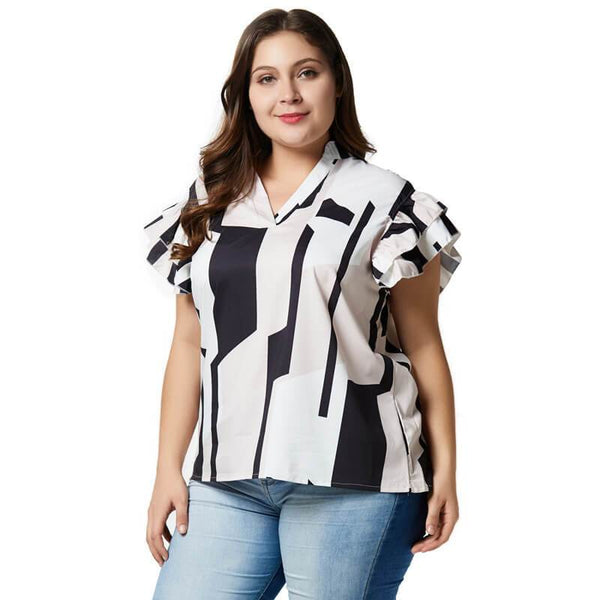 Black and White Blouse Plus Size - white color