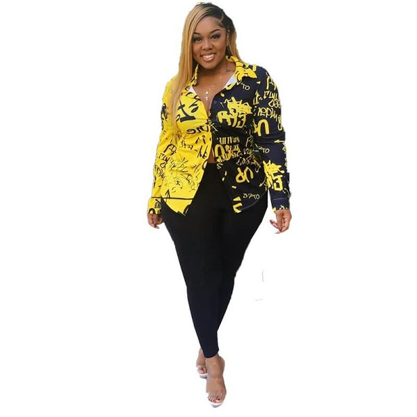 Yellow Blazer Short Set Plus Size - yellow main picture
