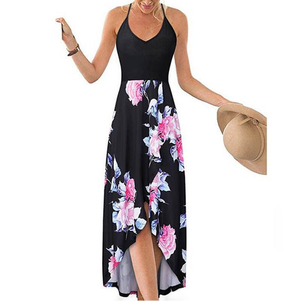 Plus Size Boho Sling Sexy Floral Printed Maxi Dress