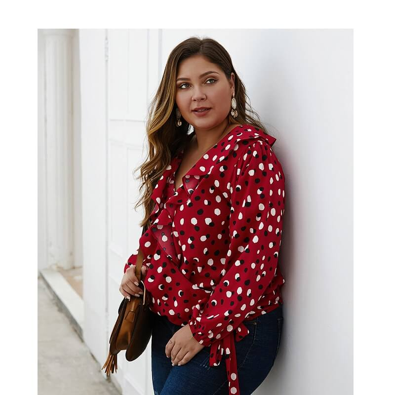 Bow Tie Blouse Plus Size - maroon side