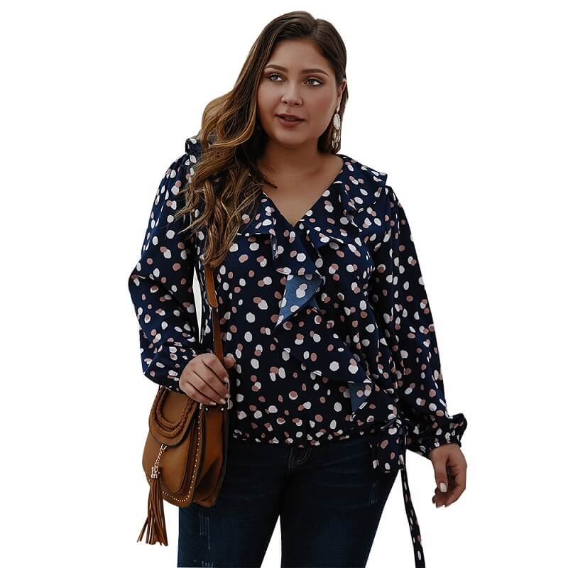 Bow Tie Blouse Plus Size - navy blue color