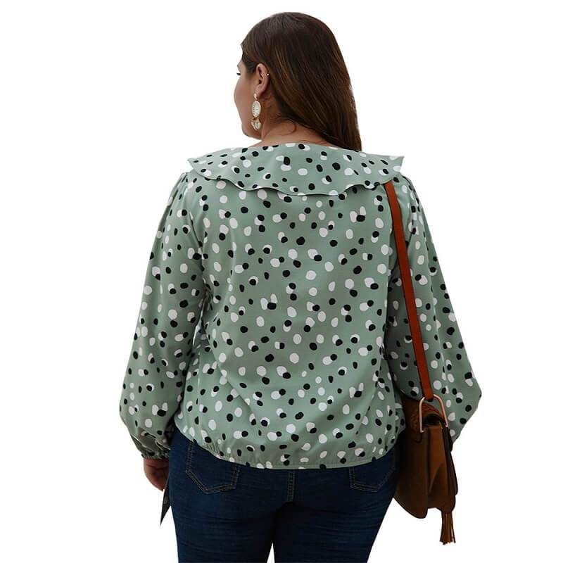 Bow Tie Blouse Plus Size - army green back