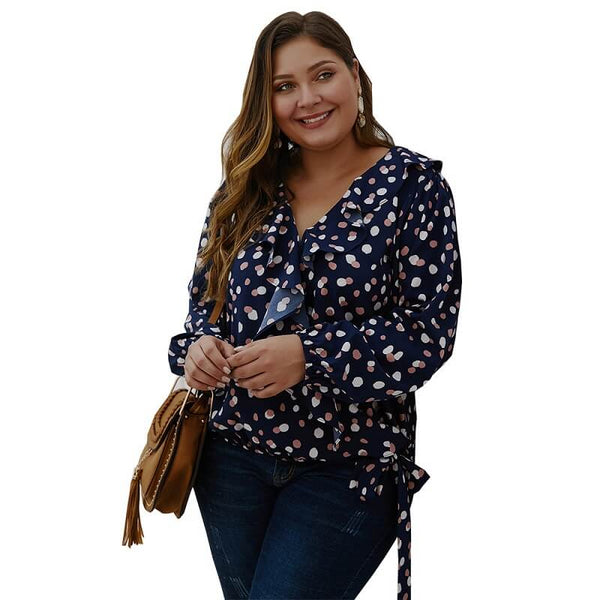 Bow Tie Blouse Plus Size - navy blue side