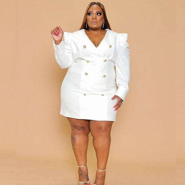 Plus Size Blazer Dress - white color