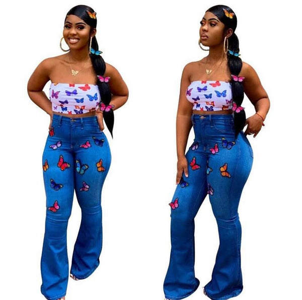 Plus Size Butterfly Embroidered Trumpet Jeans