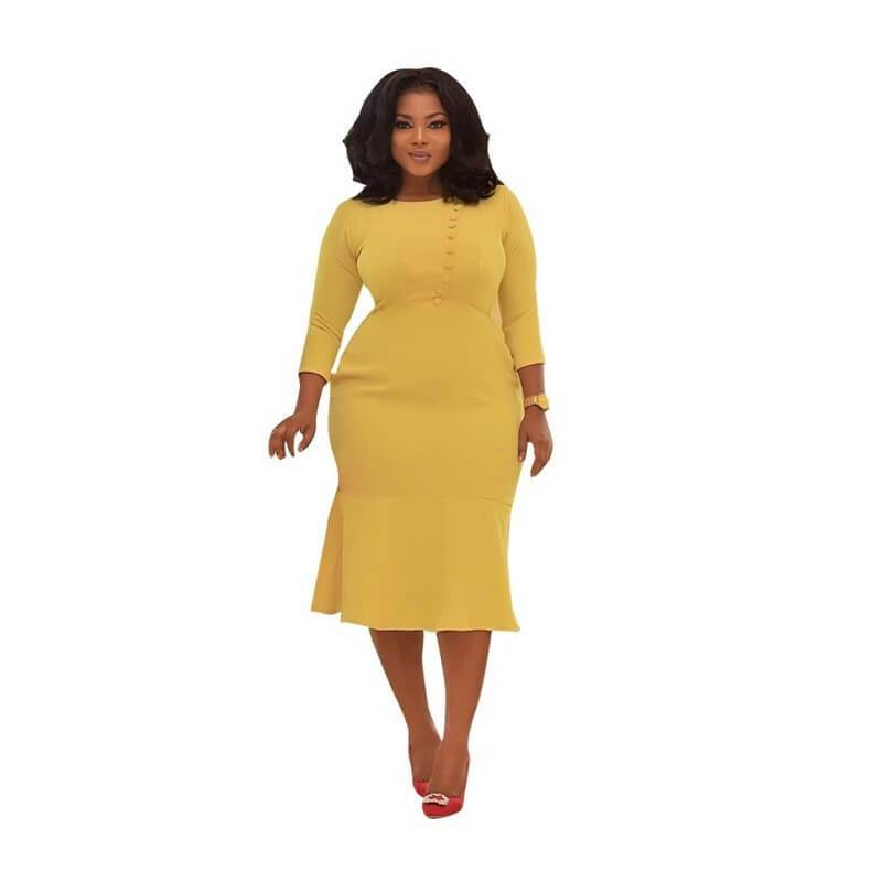 Two Colors Plus Dresses - yellow positive