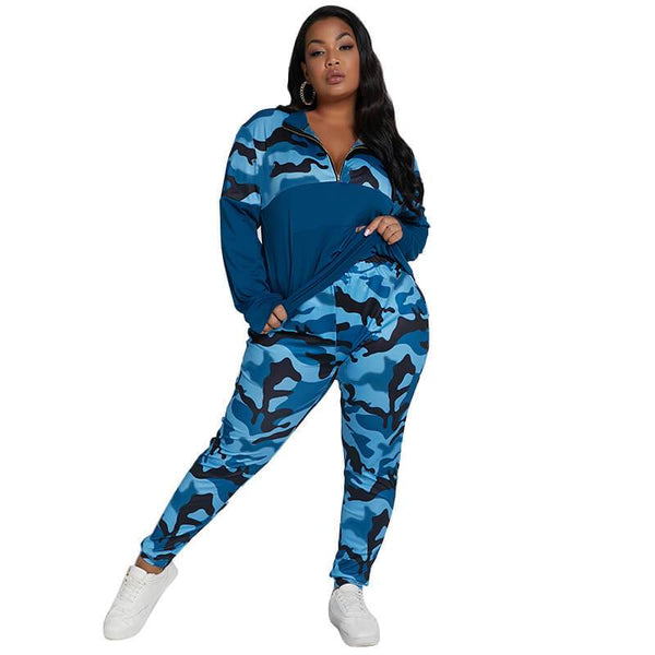 2 Piece Jogger Set Plus Size -  blue color