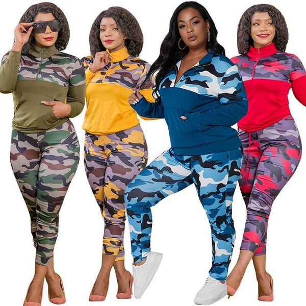 Plus Size Camo Printed Knitted Casual Two Piece Suit
